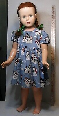 Horsman 1959 walking doll red hair, one owner, 1980's handsewn christmas dress