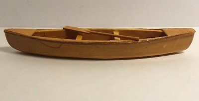 """Hand made Wooden Canoe, With One Wooden Ore. 7"""" Inches Long."""