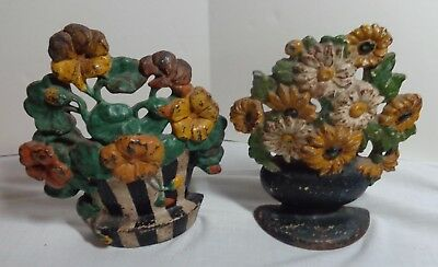 Two Antique Hubley / National Foundry Cast Iron Flower Basket Doorstops