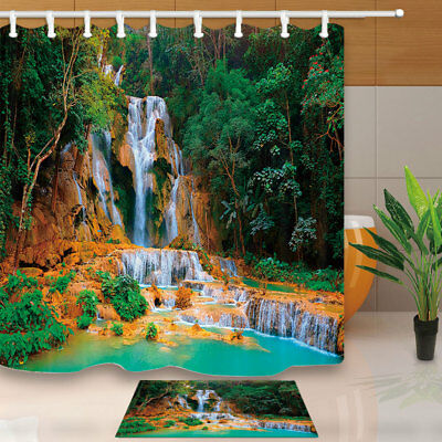 Beautiful Mountain And River Bathroom Shower Curtain Set Fabric &12 Hooks 71""
