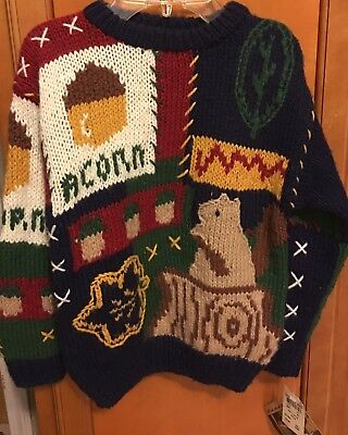 NWT Badge Hand Knit Boy's Sweater Squirrel Acorn Size Small (G)