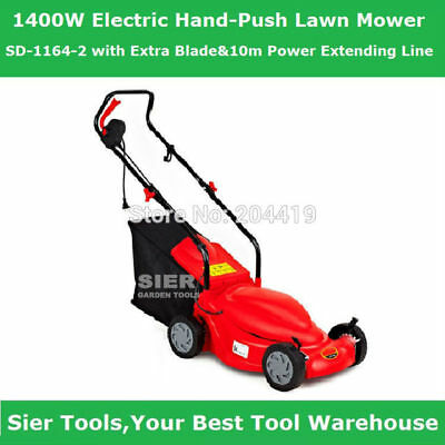 SD-1164-2 1400W Electric Hand-Push Lawn Mower/mower with Extra Blade&10m Power E