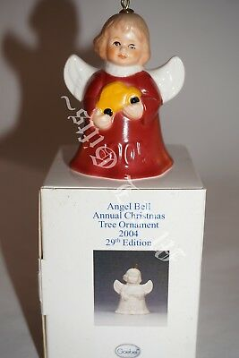 2004 Goebel Angel bell Ornament with car ~ red dress