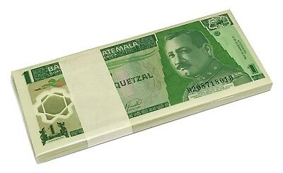 Guatemala 1 Quetzal 2006-2007 P 109 Polymer Unc Bundle Of (100 Notes)