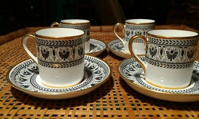 4 Vintage Crown Staffordshire bone china Demitasse Cups & Saucers , Black Laurel