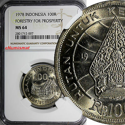 Indonesia 1978 100 Rupiah NGC MS64 Forestry for Prosperity 28.5mm KM# 42