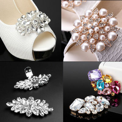 Pair of Acrylic Removable Rhinestone Crystal Wedding Bridal Tone Shoes Clips