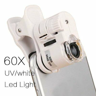 Universal Jewelry Magnifier 60x Clip-on Microscope Loupe Smart Phone LED Light