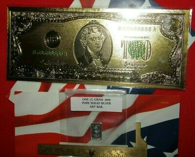 Best Junk Drawer Silver & bill lot a 24k gold foil $2 bill, & 1 gram silver bar