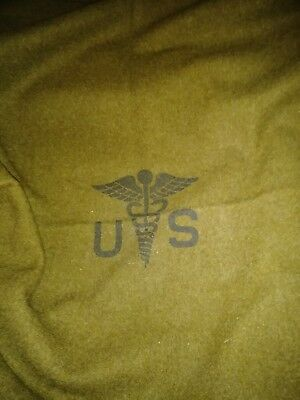 Us Military Korean War Blanket 100% Wool Olive Drab #36  Caduceus 1952 Medical
