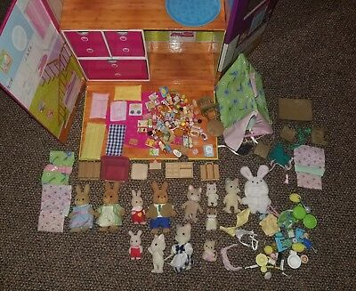calico critters lot figures food carry case