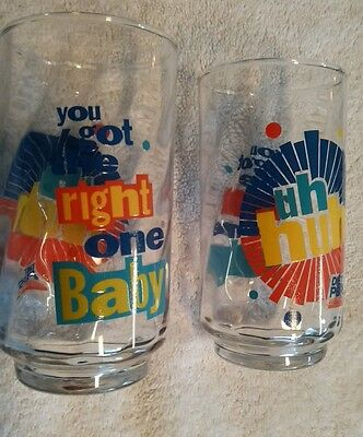 "Vintage Diet Pepsi Glass SET  ""Uh Huh You Got the Right One Baby"" NEW OLD STOCK"