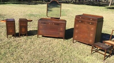 RARE Antique Vintage 1900s French Deco Flame Mahogany Bedroom Set Nightstands ..