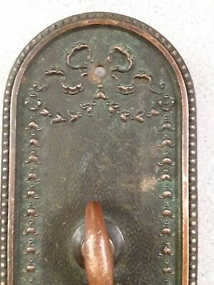 Antique Victorian Cast Brass Large Entry Door Knob Back Plate Beading Bow Shell
