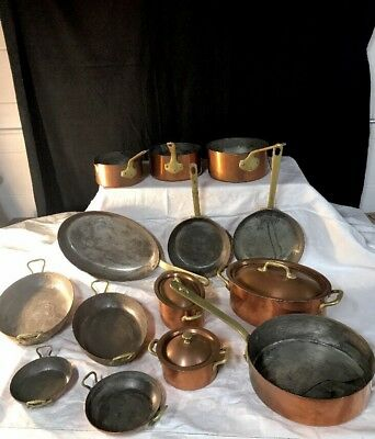 VINTAGE 1920's-30's MADE IN FRANCE COPPER COOKWARE SET 17 PIECES~METALWARE~PANS