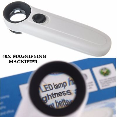 Portable Handheld Magnifier 40X Magnifying Glass Jewelry Loupe with 2 LED Light