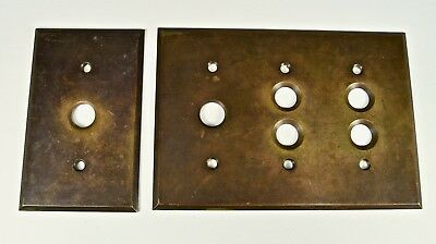 Two Antique Brass Wall Plates; Button Switches; 5-Hole Plate &  1-Hole Plate