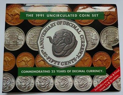 1991 Australia - Official Mint Set (8) - 25 Yrs. Decimal Currency - Ram Booklet
