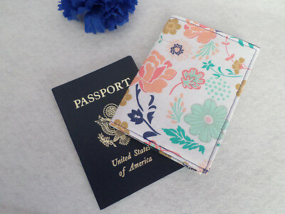 CLEARANCE Navy Blue, Mint, Coral Floral Fabric Passport Cover / Holder Handmade