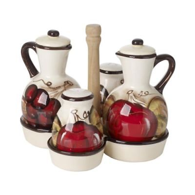 Cucina Italiana Ceramic Oil and Vinegar Bottle Dispenser with Salt and Pepper Shakers and Caddy Yellow 0104-534