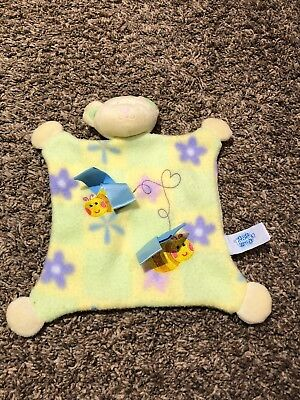 Security Blanket - Little Taggies Bear - Genuine - Green & Yellow Bees & Flowers