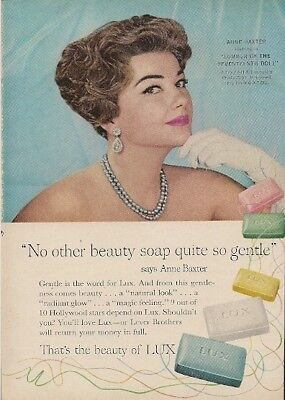 Lux Beauty Soap No Other Beauty Soap Quite So Gentle Anne Baxter Vintage Ad 1959