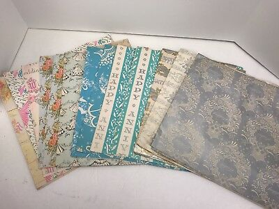 13 Sheets Vintage Wrapping Paper 10x30 Wedding Shower Anniversary