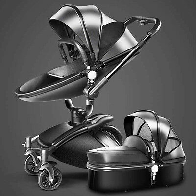 Baby stroller 3 in 1 Foldable Pram travel system high view city jogger pushchair
