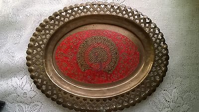 """Antique Brass Wall Decor Etched Peacock Enamel Cut Out Edge Oval 10.5""""x8.25"""""""
