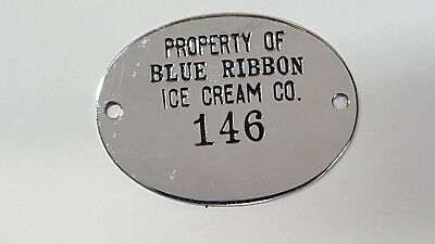 BLUE RIBBON ICE CREAM CO Machine Tag Emblem Dairy Noblesville Indiana Industrial