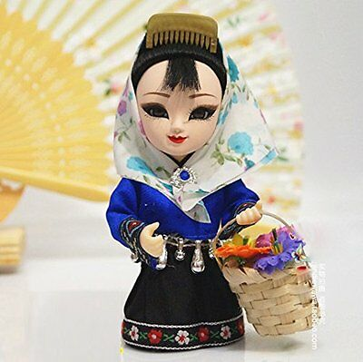 6'' Mini Q Version Figurine Beauty Asian Chinese Doll Pastoral Girl Home Decor