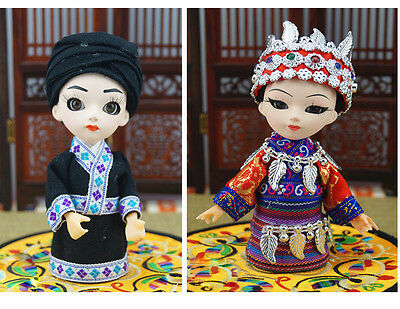 2Pcs 5'' Handmade Q Version Chinese Ethnic Minority Miao Girl and boy Spouse