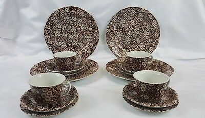Crownford Staffordshire Calico-Brown 16Pc Dinner & Bread Plates Cups/Saucers