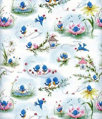Vintage 1960s Birds BIRTHDAY or ALL OCCASION Gift Wrap, Wrapping Paper, NOS #7