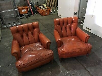 Vintage French Leather Armchairs
