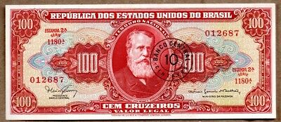 Brazil XF Note 10 Centavos On 100 Cruzeiros ND (1967) P-185b