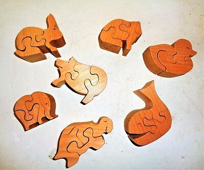 Lot of 7 Wooden Animal Shaped Puzzle 3D Building Blocks Children Toy