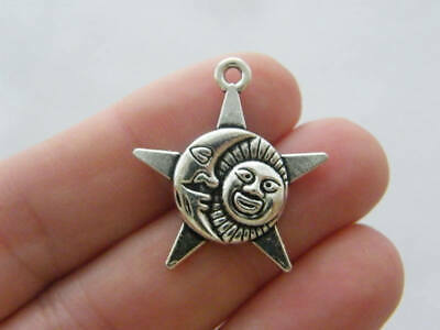 4 Planets Charms Antique Silver Tone Moon Stars SC7369