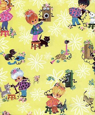 Vintage 60s Motifs Cat & Girl-JUVENILE BIRTHDAY Gift Wrap-Wrapping Paper-NOS #30