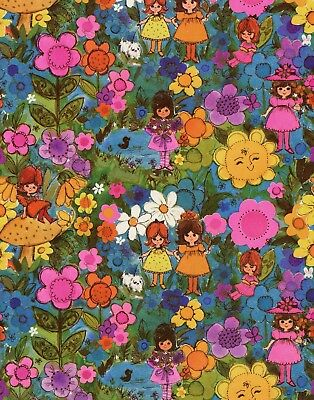 Vintage 60s Flowers Girl-JUVENILE BIRTHDAY Gift Wrap-Wrapping Paper-NOS #31