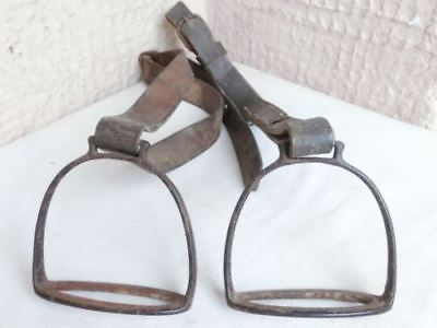 Pair ANTIQUE PRIMITIVE 1800's OTTOMAN ERA IRON HORSE STRAPS WITH LEATHER STRAPS