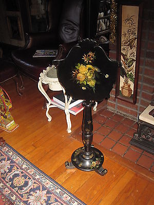Papier/Paper Mache Pole Fire Screen Hand Painted Antique Victorian