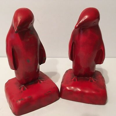 Vintage Old Red Penguin Bookends Cast Metal With Felt Covered Bottom 1920's-30's