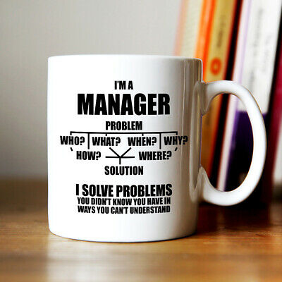 Manager flow chart mug funny novelty tea coffee gift womens mens office boss mug