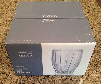 Set of (4) Waterford Crystal Marquis Omega Double Old Fashion Tumblers