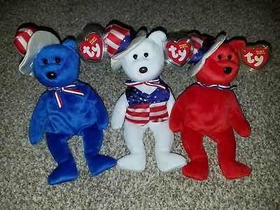Ty Beanie Baby Bears Sam Red/White/Blue Complete Set of 3 Rare USA MWMT!