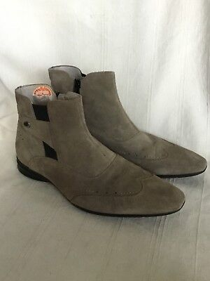 Fiorelli Men's Beige Suede Leather Ankle Boots With Side Zip UK Size 10 EU 44