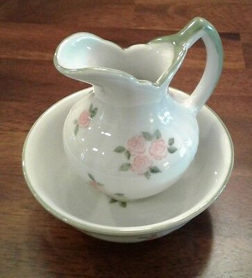 ceramic mini pitcher and bowl, Andrea by Sadak, 14307 FY  roses