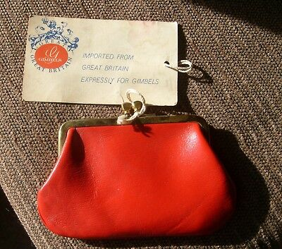 Vintage Red Leather & Brass Kiss-lock coin purse Great Britain