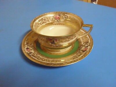 Bohemia Royal Ivory Tea Cup + Saucer Flowers Green Gold